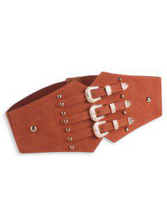 Metal Retro Buckles Rivet Wide Corset Belt - Brown
