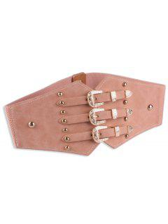 Metal Retro Buckles Rivet Wide Corset Belt - Pink