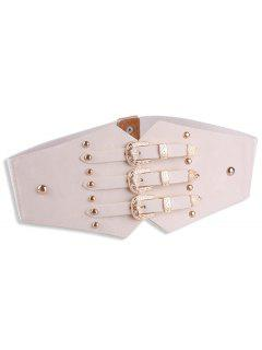 Metal Retro Buckles Rivet Wide Corset Belt - Off-white