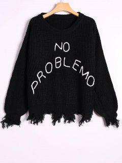 Loose Ripped Tassels Letter Sweater - Black