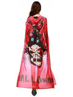 Chiffon Halloween Witch Element Festival Hooded Cape - Bright Red