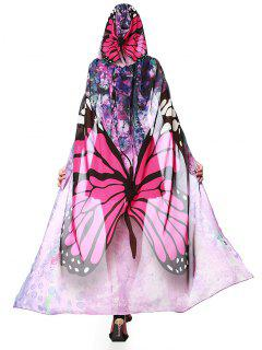 Chiffon Butterfly Design Festival Hooded Cape - Tutti Frutti