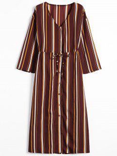 Long Sleeve Button Up Stripes Maxi Dress - Stripe L