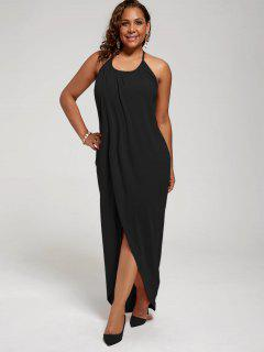 Plus Size Halter High Slit Dress - Black 4xl