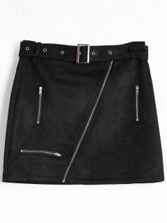 Zipper Faux Suede Skirt - Black L