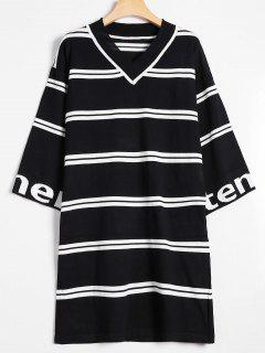 Drop Shoulder Striped Knitted Dress - Black