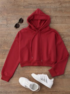Drop Shoulder Cropped Hoodie - Red M