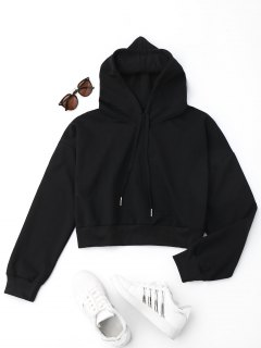 Drop Shoulder Cropped Hoodie - Black S