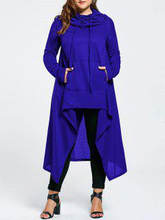 Plus Size Funnel Collar Maxi Asymmetric Hoodie - Blue 4xl