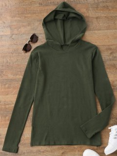 Pullover Thumbhole Hooded Top - Army Green S