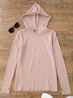 Pullover Thumbhole Hooded Top - Shallow Pink S