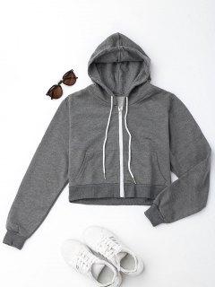 Front Pockets Cropped Zip Up Hoodie - Gray M