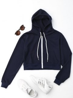 Front Pockets Cropped Zip Up Hoodie - Deep Blue M