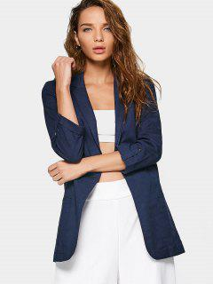 Linen Lapel Open Front Blazer - Purplish Blue L