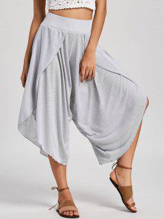 High Waisted Capri Wide Leg Pants - Light Gray M