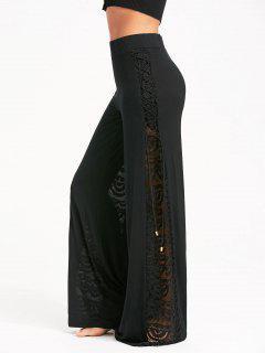 Criss Cross And Lace Panel Palazzo Pants - Black S