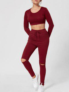 Hooded Crop Top With Ripped High Waist Pants - Wine Red 2xl