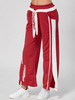 Letter Embroidery Slit Wide Leg Pants - Red S