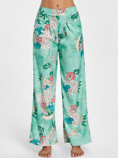 Floral Wide Leg Palazzo Pants - Green M