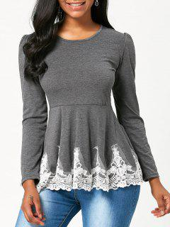 High Waisted Lace Trim Long Sleeve T-shirt - Gray Xl