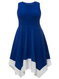 Plus Size Color Trim Sleeveless Handkerchief Dress - Royal Xl