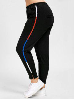 Plus Size Striped Elastic Waist Pants - Black 5xl