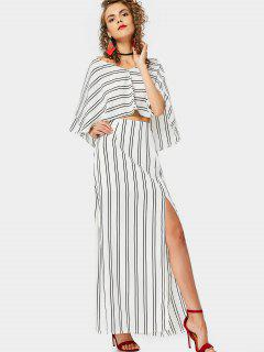 Capelet Top And Slit Striped Skirt Set - Stripe M