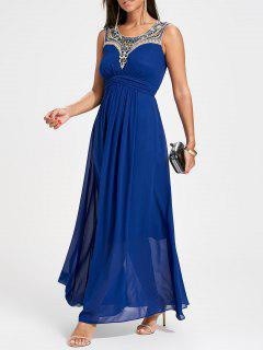Rhinestone Ruched Maxi Party Dress - Blue Xl