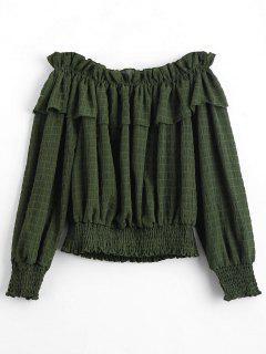 Off The Shoulder Flounce Hem Blouse - Army Green L