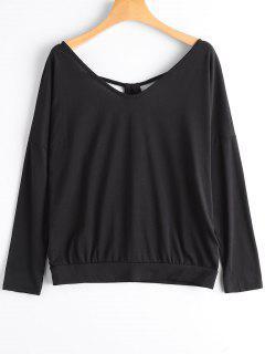 T-shirt à Encolure En V à Découper - Noir M