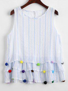 Fuzzy Ball Embellished Striped Tiered Tank Top - Stripe M