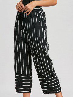 High Waist Striped Palazzo Pants - Black M