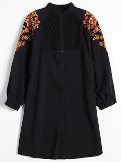 Robe Chemise Brodée Florale à Empiècement En Dentelle - Noir S