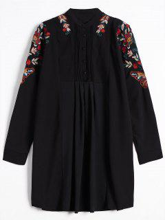 Half Button Embroidered Long Sleeve Shirt Dress - Black S