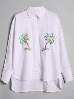 Camisa Baja Alta Bordada árbol Flojo - Blanco M