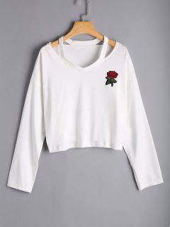Rose Embroidered Cold Shoulder Top - White L