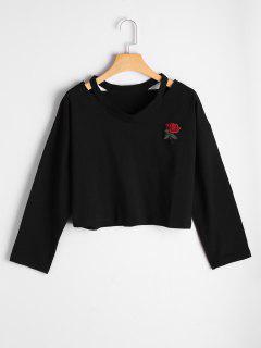 Haut épaule épaule Bordée De Rose - Noir M