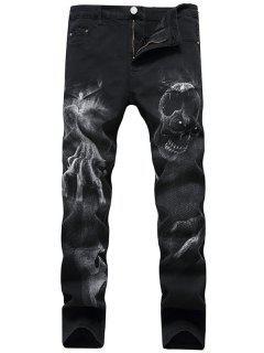 Skull Pattern Zip Fly Jeans - Black 42