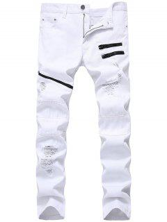 Zip Embellished Distressed Jeans - White 36
