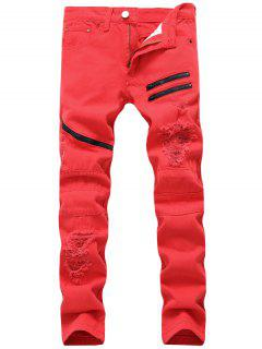 Zip Verschönert Beunruhigte Jeans - Rot 36
