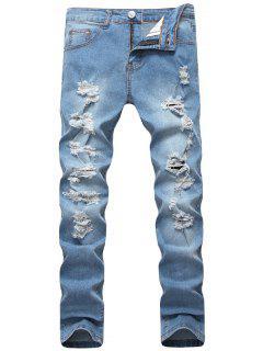 Light Wash Distressed Jeans - Light Blue 34