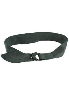Faux Suede Metal Double Round Buckle Belt - Blackish Green