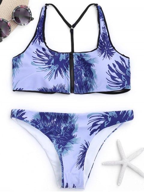 Caged Y Back Zipper Front Bikini imprimé - Delphinium S Mobile