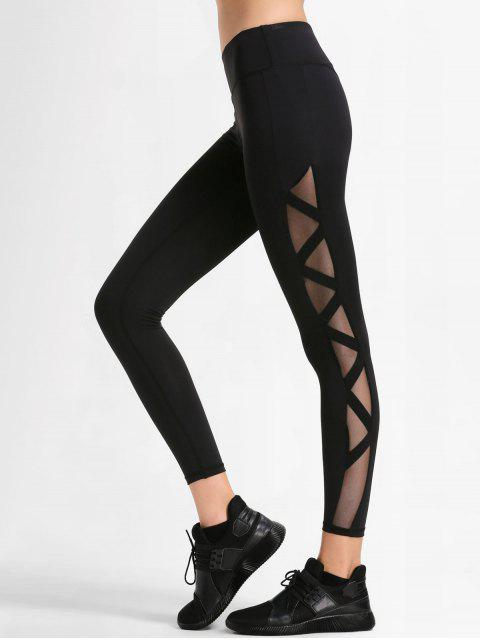 online Bandage Mesh Workout Leggings - BLACK L Mobile