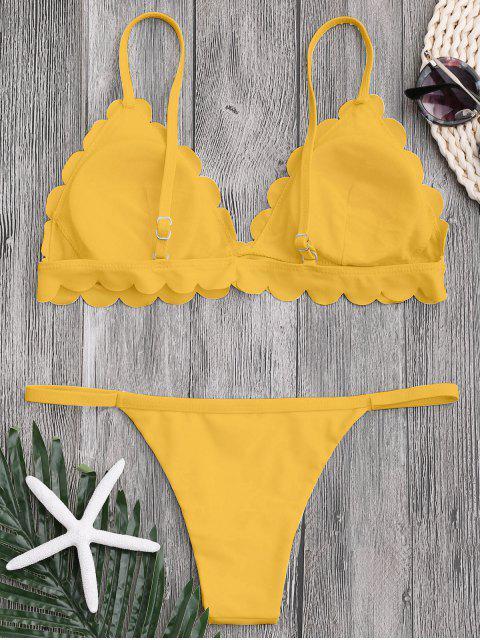 new Low Waisted Scalloped Thong Bikini - YELLOW S Mobile