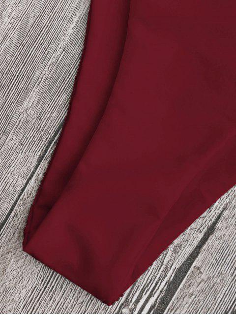 latest Low Waisted Scalloped Thong Bikini - DEEP RED S Mobile
