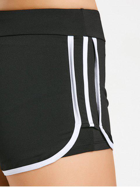 trendy Stripe Trim Sports Shorts - WHITE M Mobile
