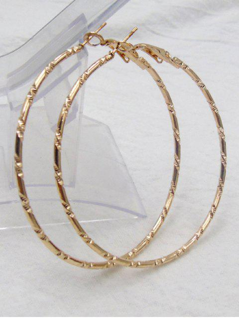 women Bamboo Hoop Earrings - GOLDEN  Mobile
