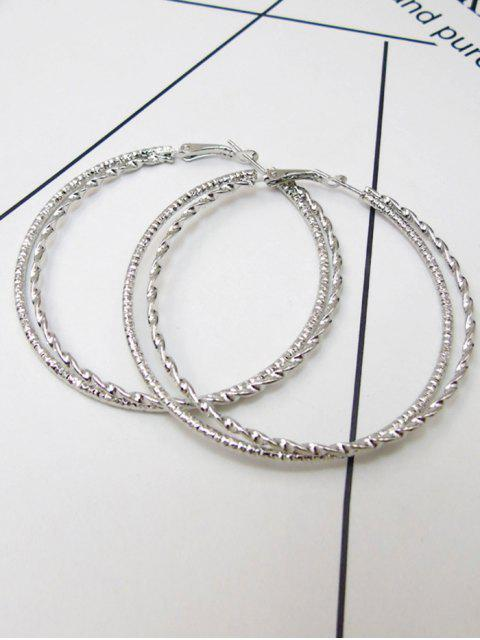 Hanf Blume Ohrringe mit großem Kreis - Silber  Mobile
