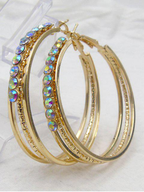 Rhinestone Metal Alloy Circle Hoop Boucles d'oreilles - Or  Mobile